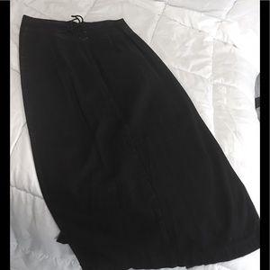 Long Black Denim Skirt